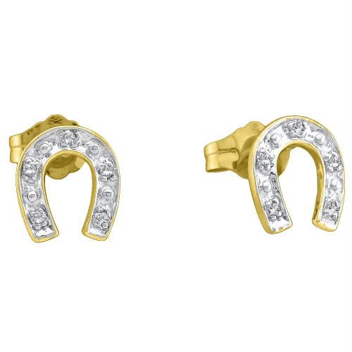 10kt Yellow Two-tone Gold Womens Round Diamond Horseshoe Stud Earrings 1/20 Cttw