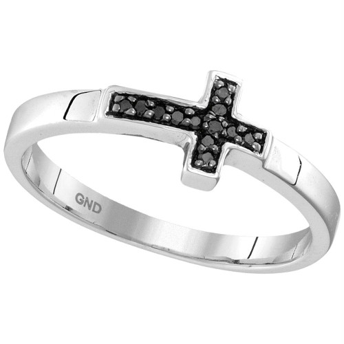 Sterling Silver Womens Round Black Color Enhanced Diamond Christian Cross Band Ring 1/20 Cttw