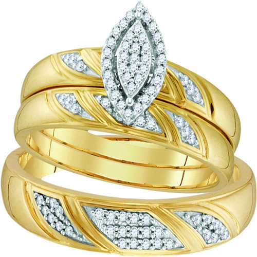 10k Yellow Gold Diamond His & Hers Matching Trio Wedding Engagement Bridal Ring Set 1/4 Cttw - 110352-6.5
