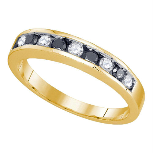 10kt Yellow Gold Womens Round Blue Color Enhanced Diamond Band Ring 1/4 Cttw - 80981-5.5