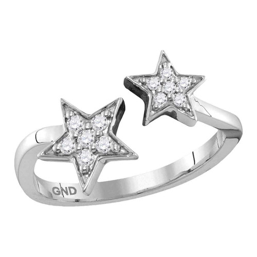 10kt White Gold Womens Round Diamond Bisected Double Star Open Ring 1/8 Cttw