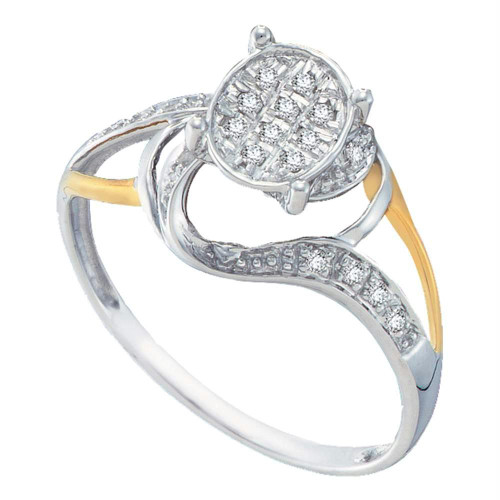 10kt White Two-tone Gold Womens Round Diamond Oval Cluster Split-shank Ring 1/10 Cttw