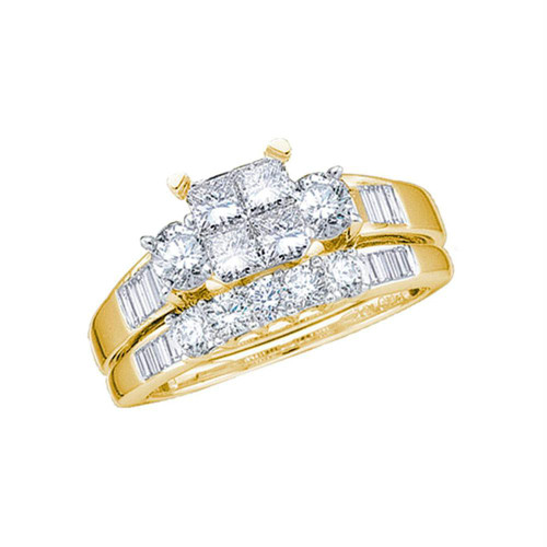 14kt Yellow Gold Womens Princess Diamond Bridal Wedding Engagement Ring Band Set 1.00 Cttw - Size 8