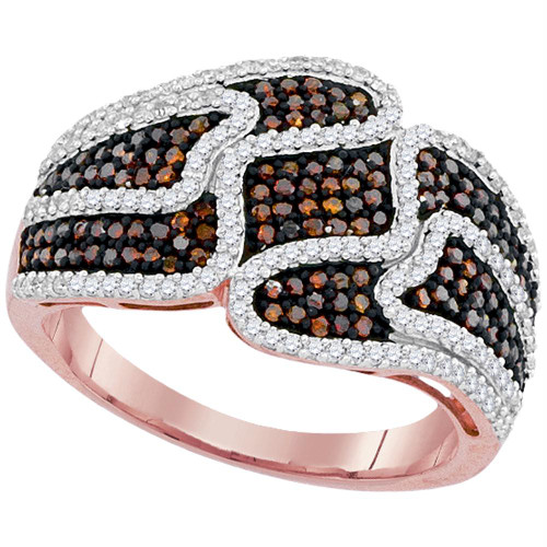 10kt Rose Gold Womens Round Red Color Enhanced Diamond Striped Cocktail Ring 3/4 Cttw