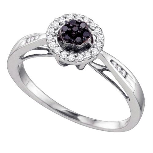 10k White Gold Black Color Enhanced Diamond Flower Cluster Halo Womens Bridal Wedding Engagement Ring 1/5 Cttw
