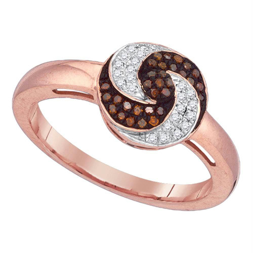 10kt Rose Gold Womens Round Red Color Enhanced Diamond Fashion Ring 1/5 Cttw