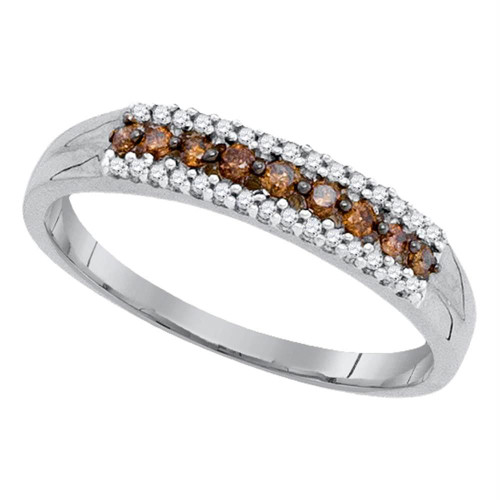 10kt White Gold Womens Round Cognac-brown Color Enhanced Diamond Band Ring 1/5 Cttw - 90571-5