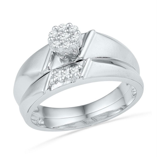 10kt White Gold Womens Round Diamond Cluster Bridal Wedding Engagement Ring Band Set 1/8 Cttw