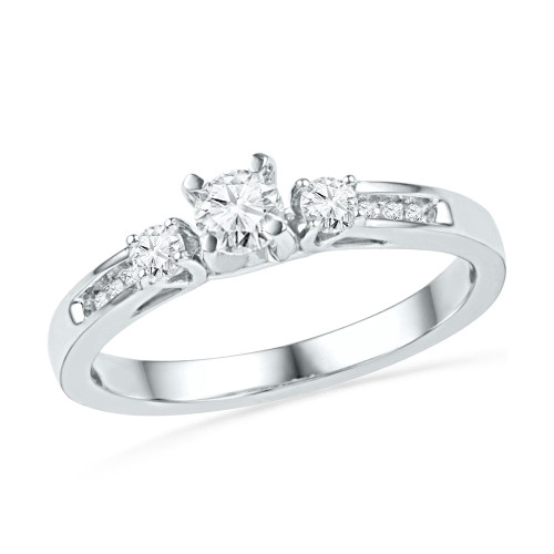 10kt White Gold Womens Round Diamond 3-stone Bridal Wedding Engagement Ring 1/2 Cttw - 100730-5
