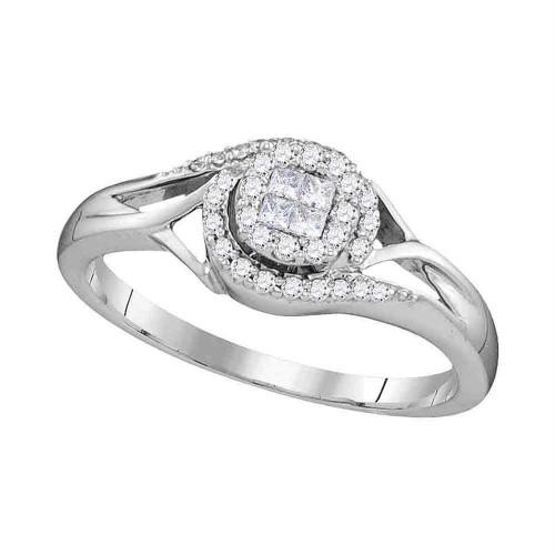 10kt White Gold Womens Princess Round Diamond Cluster Bridal Wedding Engagement Ring 1/5 Cttw