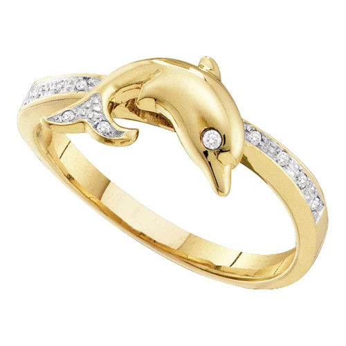10kt Yellow Gold Womens Round Diamond Slender Dolphin Animal Fish Ring 1/20 Cttw