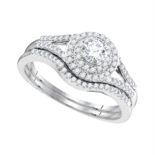 10k White Gold Womens Round Diamond Concentric Halo Bridal Wedding Engagement Ring Set 1/2 Cttw