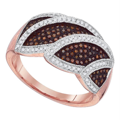 10kt Rose Gold Womens Round Red Color Enhanced Diamond Leaf Band Ring 3/8 Cttw