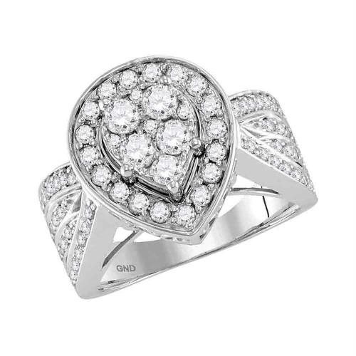 14kt White Gold Womens Round Diamond Teardrop Cluster Bridal Wedding Engagement Ring 1-3/8 Cttw