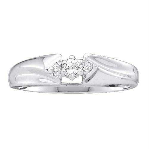 10kt White Gold Womens Round Diamond 3-stone Promise Bridal Ring 1/10 Cttw