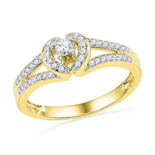 10kt Yellow Gold Womens Round Diamond Heart Love Promise Bridal Ring 1/4 Cttw - 101740-10