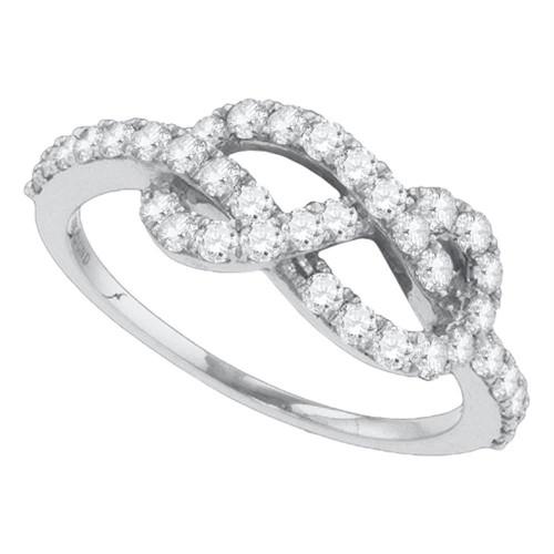 10k White Gold Womens Round Diamond Infinity Woven Love Anniversary Ring 3/4 Cttw