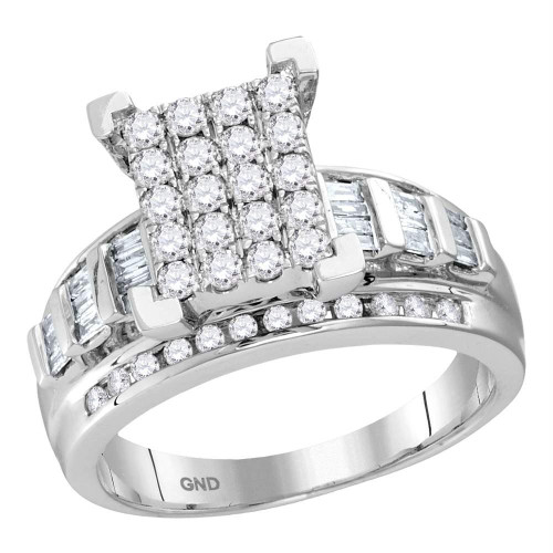 10kt White Gold Womens Round Diamond Cindys Dream Cluster Bridal Wedding Engagement Ring 1-1/2 Cttw