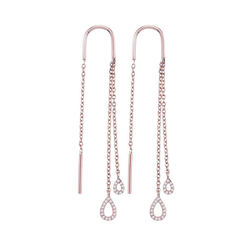 10kt Rose Gold Womens Round Diamond Double Teardrop Dangle Threader Earrings 1/6 Cttw