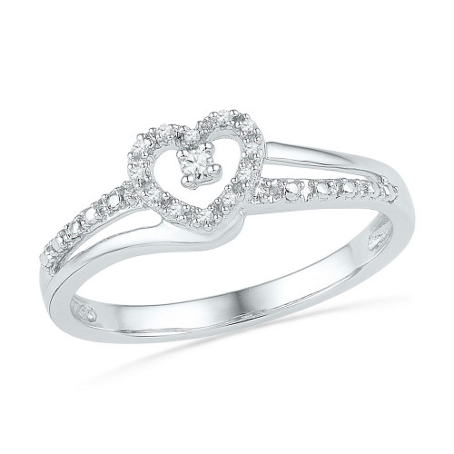 10kt White Gold Womens Round Diamond Heart Love Promise Bridal Ring 1/20 Cttw - 101883-10.5