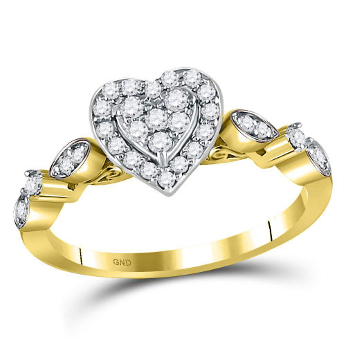 14kt Yellow Gold Womens Round Diamond Heart Cluster Ring 1/3 Cttw - 119382-5