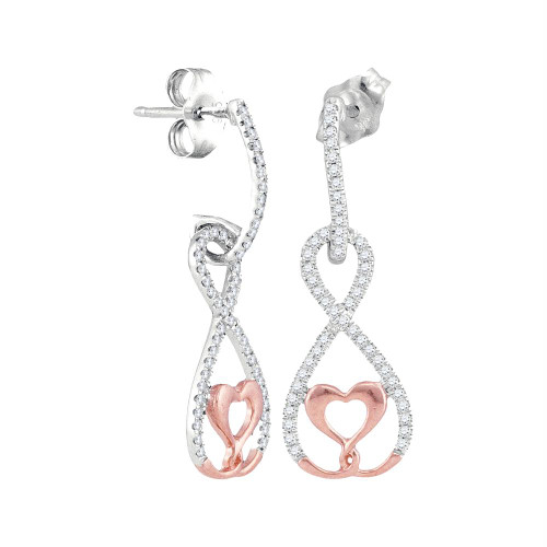10kt White Rose Gold Womens Round Diamond Dangle Infinity Heart Earrings 1/4 Cttw