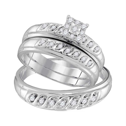 10kt White Gold His & Hers Round Diamond Solitaire Matching Bridal Wedding Ring Band Set 1/3 Cttw - 96764-5.5