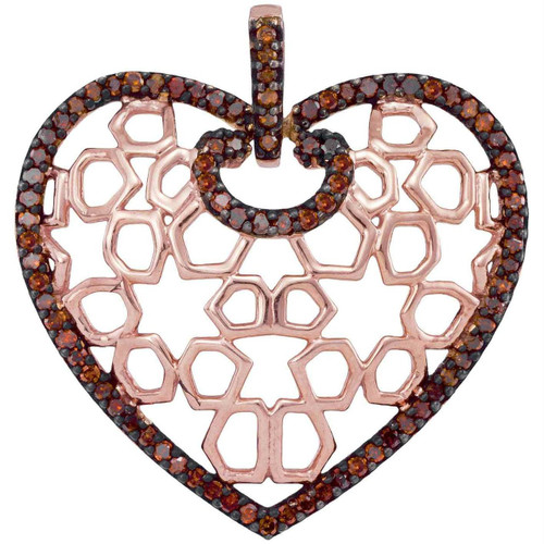 10kt Rose Gold Womens Round Red Color Enhanced Diamond Heart Love Pendant 1/4 Cttw