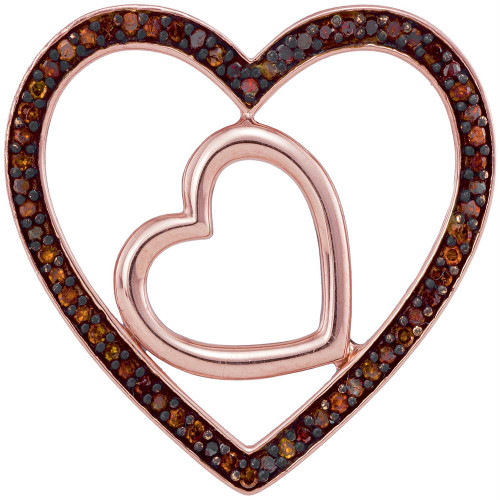 10kt Rose Gold Womens Round Red Color Enhanced Diamond Heart Love Pendant 1/5 Cttw - 93446