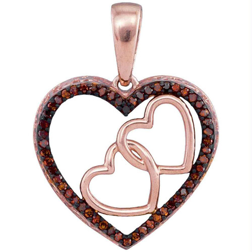 10kt Rose Gold Womens Round Red Color Enhanced Diamond Heart Love Pendant 1/6 Cttw - 93448