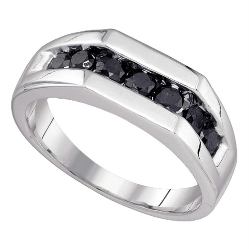 10kt White Gold Mens Round Black Color Enhanced Diamond Wedding Band Ring 1.00 Cttw