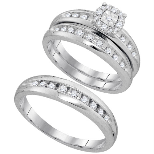 10kt White Gold His & Hers Round Diamond Cluster Matching Bridal Wedding Ring Band Set 3/8 Cttw - 93869-10.5