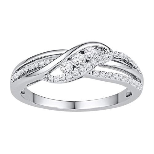10kt White Gold Womens Round Diamond 3-stone Bridal Wedding Engagement Ring 1/4 Cttw