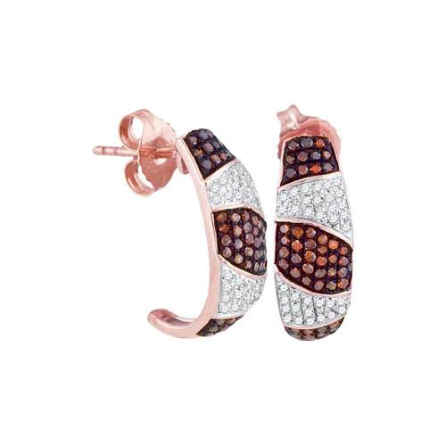 10kt Rose Gold Womens Round Red Color Enhanced Diamond Striped Half J Hoop Earrings 3/8 Cttw