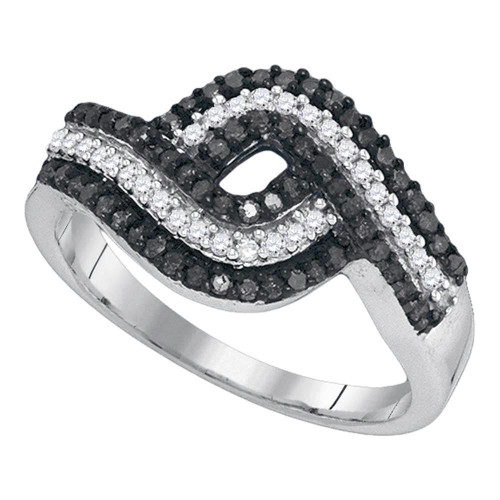 10k White Gold Black Color Enhanced Round Diamond Womens Woven Striped Cocktail Band 1/2 Cttw