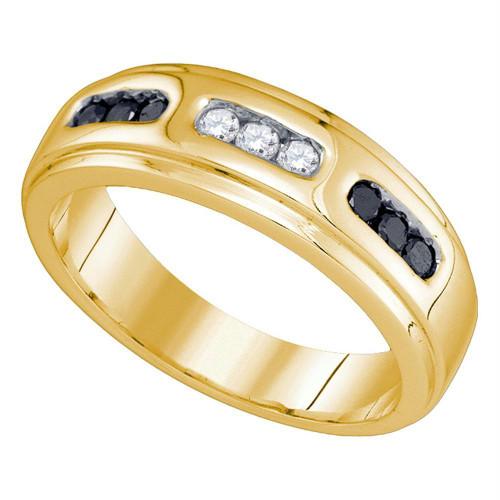 10k Yellow Gold Black Color Enhanced Diamond Channel-set Mens Wedding Anniversary Band Ring 1/3 Cttw