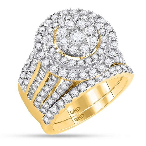 14kt Yellow Gold Womens Round Diamond Cluster Bridal Wedding Engagement Ring Band Set 3-1/8 Cttw