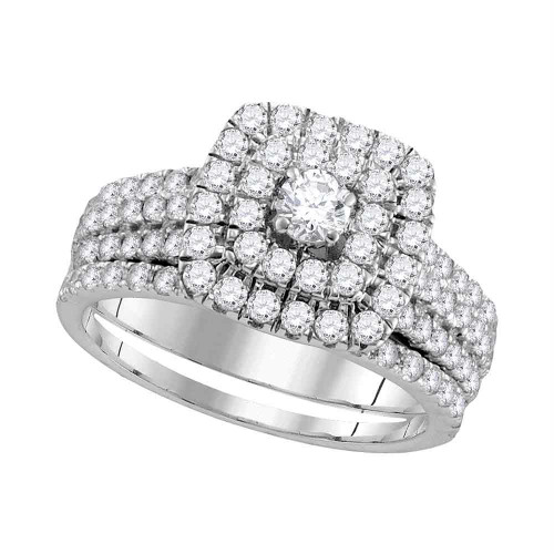14kt White Gold Womens Round Diamond Double Square Halo Bridal Wedding Engagement Ring Band Set 1-3/4 Cttw