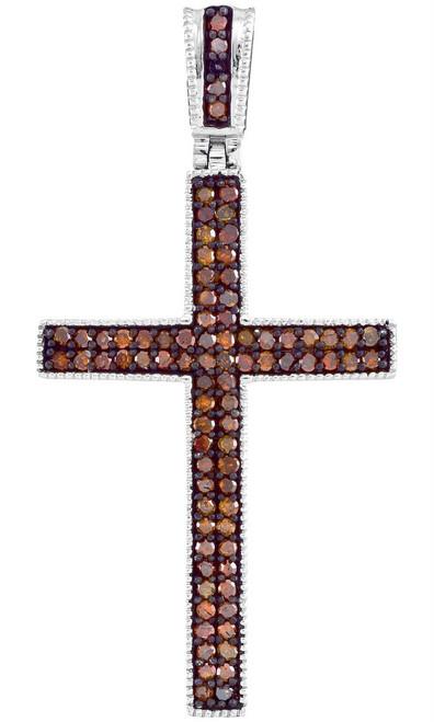 10kt Rose Gold Womens Round Red Color Enhanced Diamond Christian Cross Pendant 1/4 Cttw - 93402
