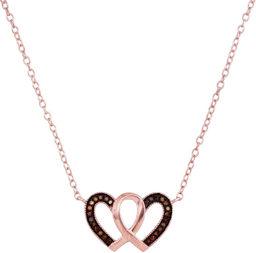 10kt Rose Gold Womens Round Red Color Enhanced Diamond Heart Love Necklace Pendant 1/10 Cttw