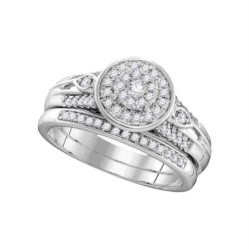 10k White Gold Womens Round Diamond Halo Bridal Wedding Engagement Ring Band Set 3/8 Cttw