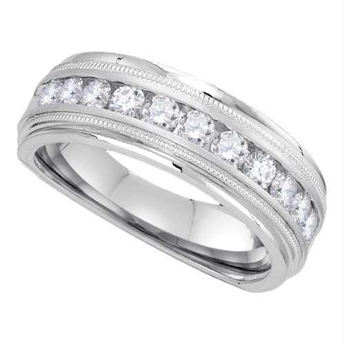 10kt White Gold Mens Round Diamond Wedding Band Ring 1.00 Cttw - 85834-11.5