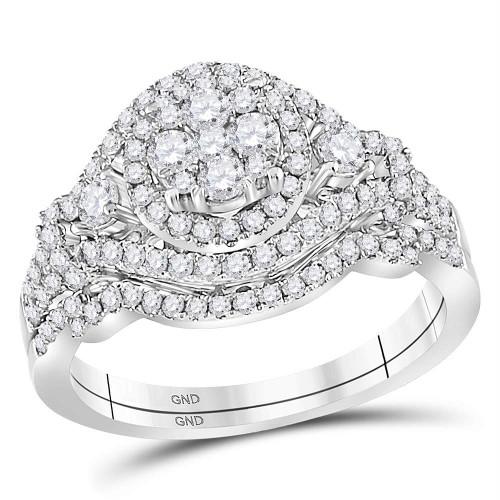 14kt White Gold Womens Round Diamond Cluster Bridal Wedding Engagement Ring Band Set 1.00 Cttw - 114715
