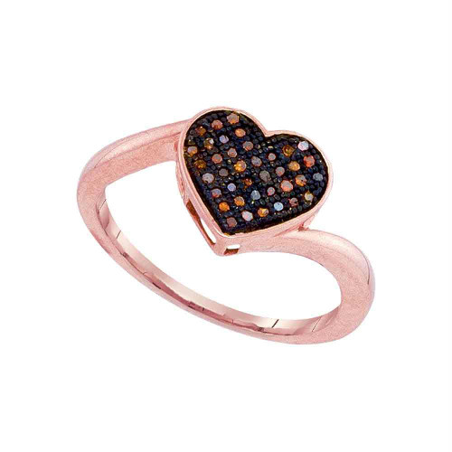 10kt Rose Gold Womens Round Red Color Enhanced Diamond Heart Love Ring 1/10 Cttw - 93268-10