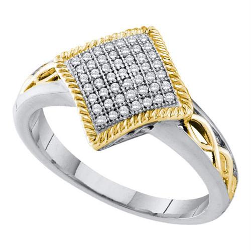 10kt White Gold Womens Round Diamond Diagonal Square Milgrain Frame Cluster Ring 1/6 Cttw