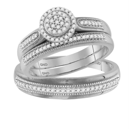 10kt White Gold His & Hers Round Diamond Cluster Matching Bridal Wedding Ring Band Set 1/4 Cttw - 117753-5.5
