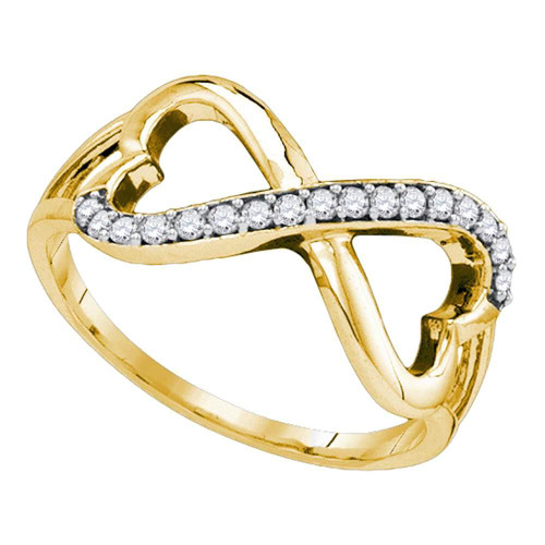10kt Yellow Gold Womens Round Diamond Infinity Double Heart Ring 1/6 Cttw