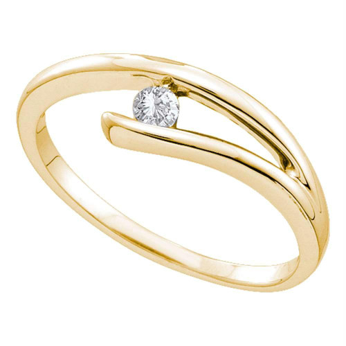 14kt Yellow Gold Womens Round Diamond Solitaire Promise Bridal Ring 1/12 Cttw