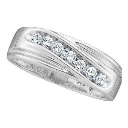 10kt White Gold Mens Round Channel-set Diamond Single Row Wedding Band Ring 1/4 Cttw