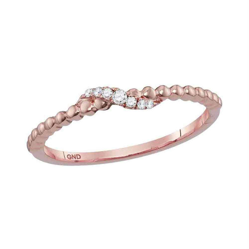 10kt Rose Gold Womens Round Diamond Crossover Stackable Band Ring 1/20 Cttw